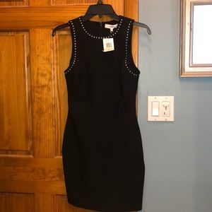 New LIKELY black mini sleeveless dress w studs